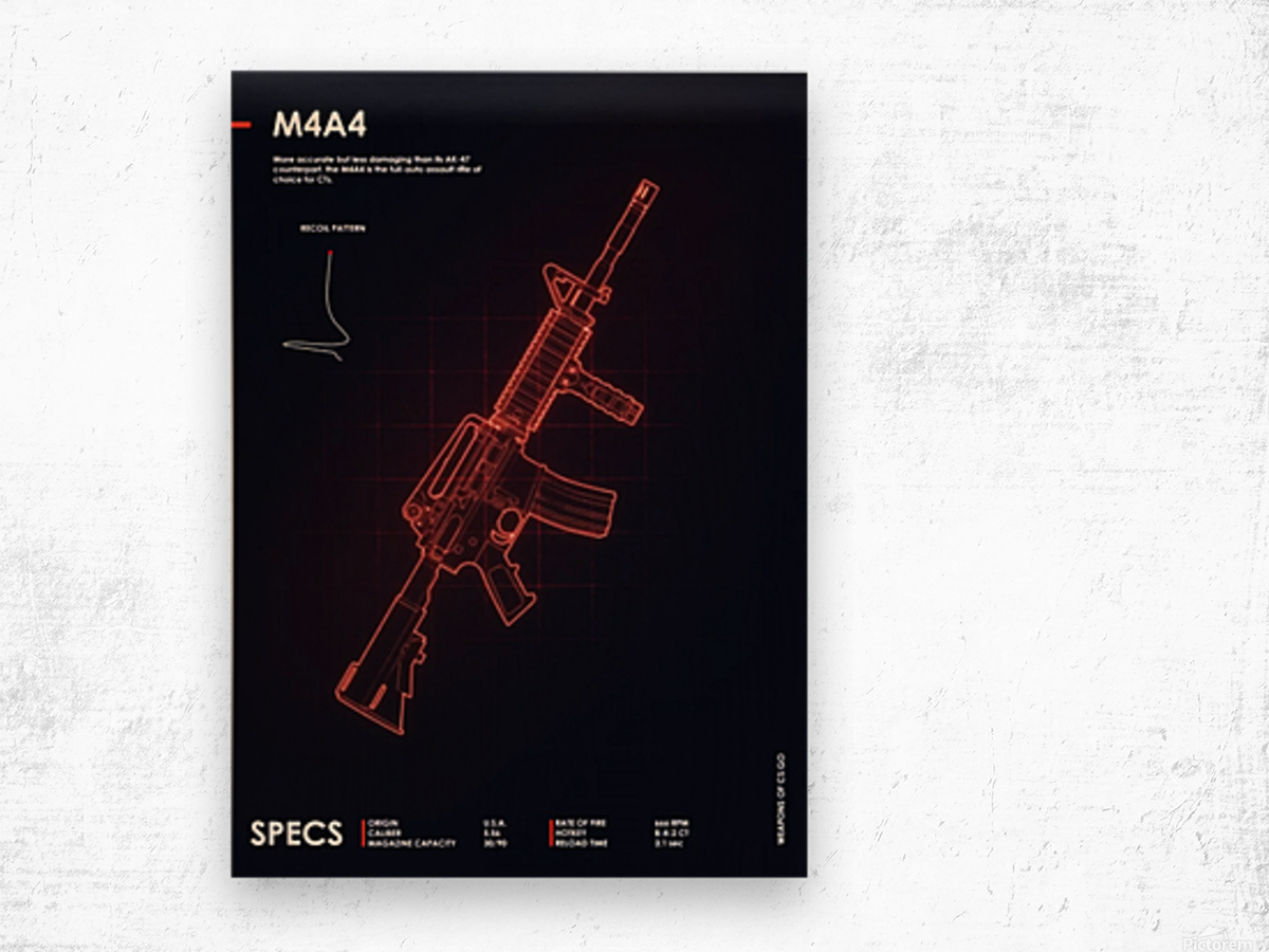 M4A4 CSGO WEAPON Wood print