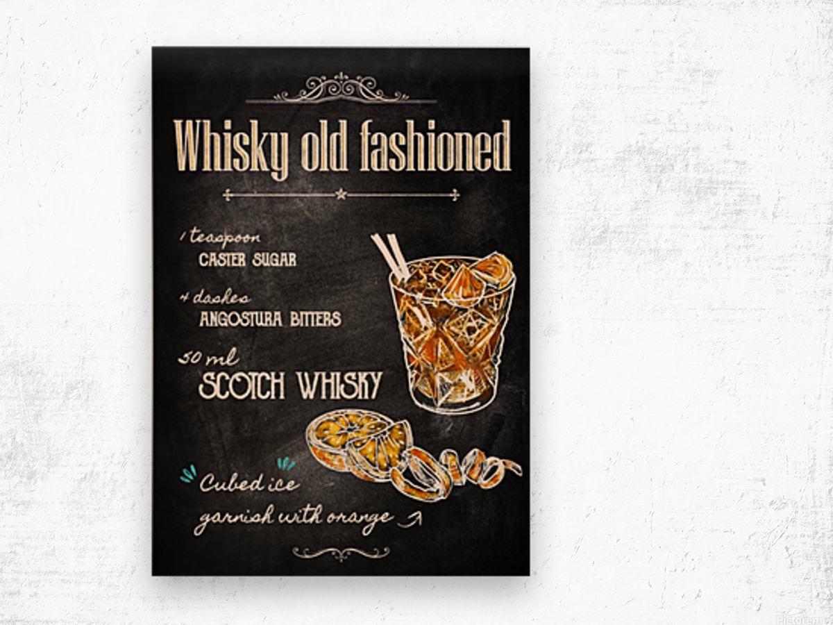 Whisky old fashioned Wood print