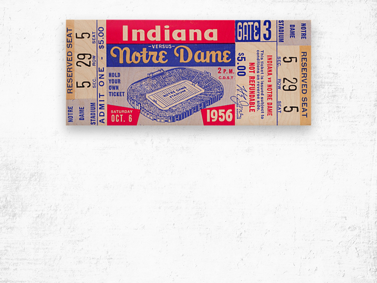 1956 Notre Dame vs. Indiana Wood print