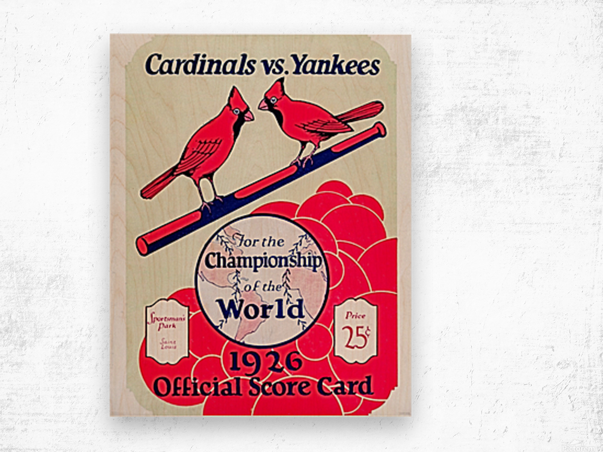 1926 World Series Score Card Wood print