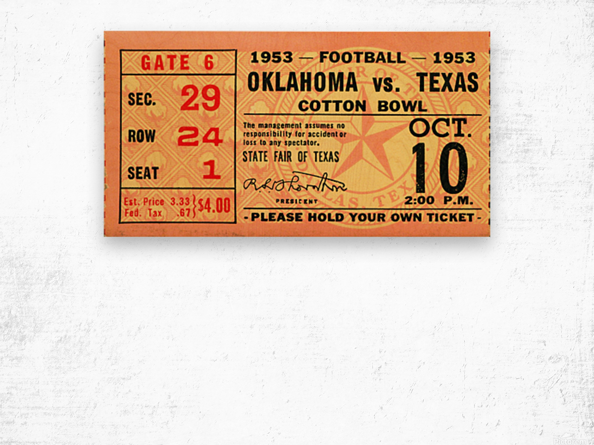 1953 Oklahoma vs. Texas Wood print