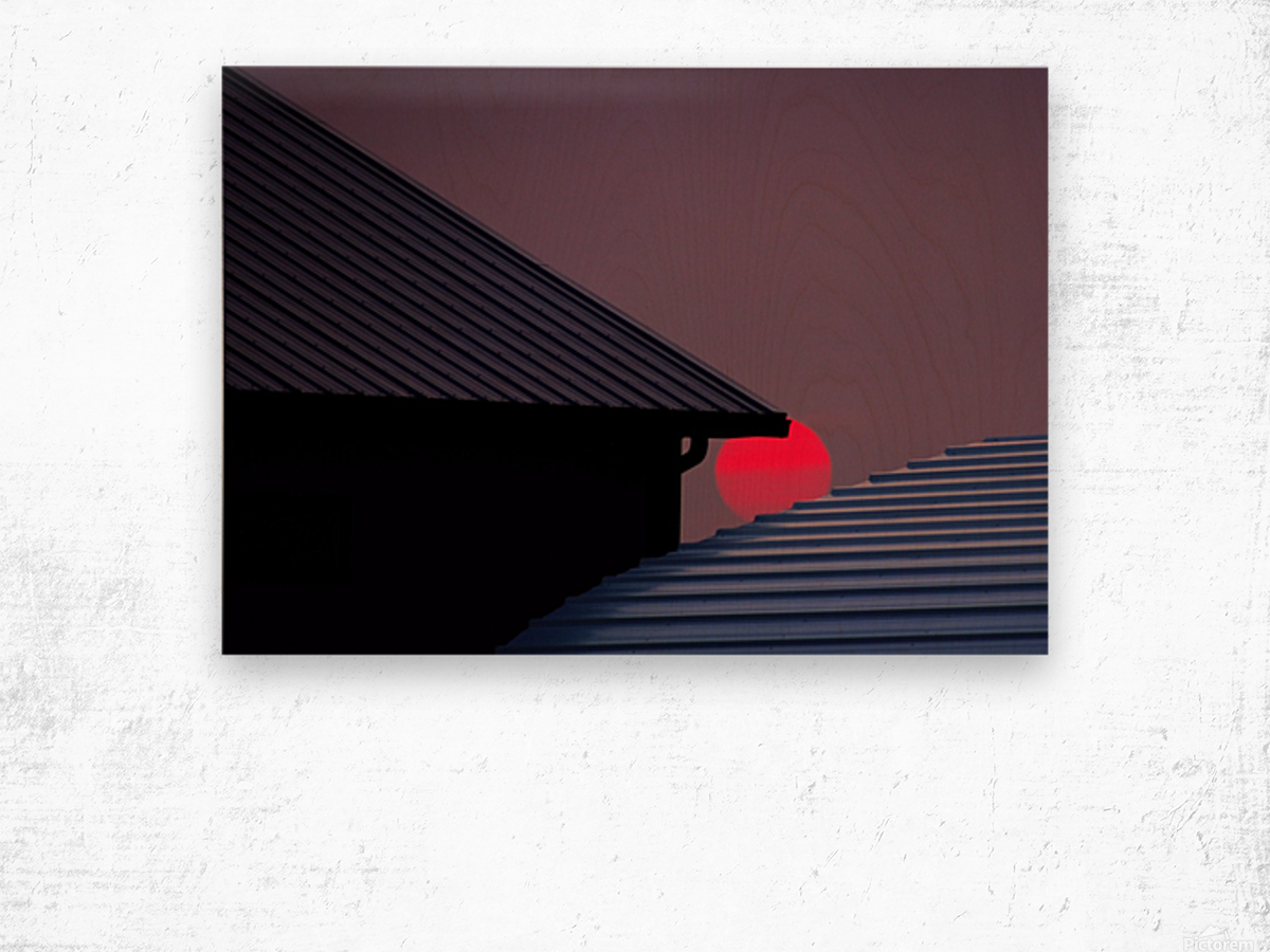 Smokey Sunset and Steel Roofs Wood print