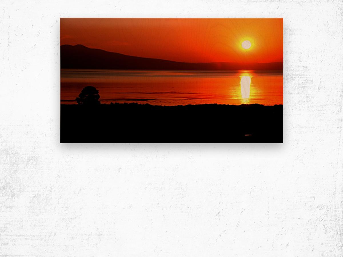 Honey Lake Sunrise Wood print