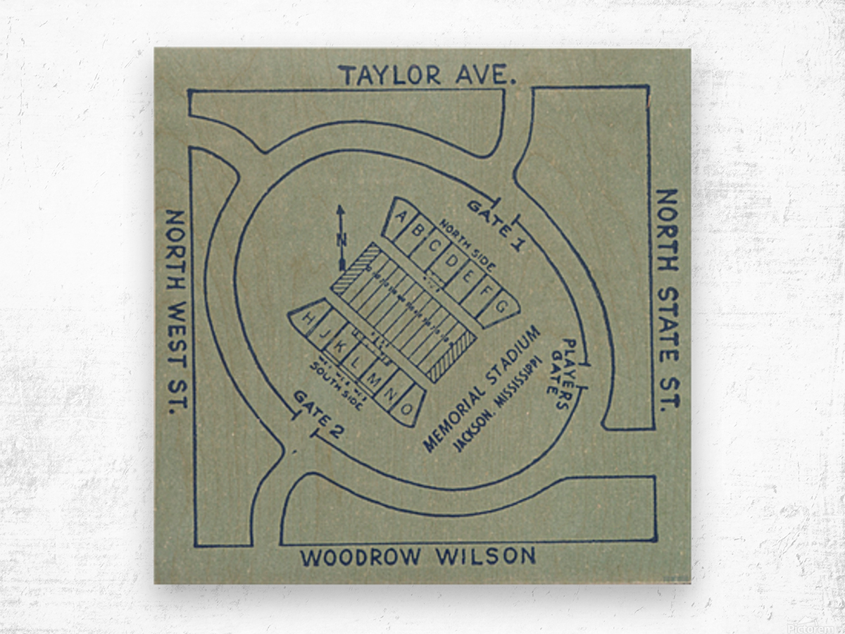 1956 Memorial Stadium Map Jackson MS Wood print