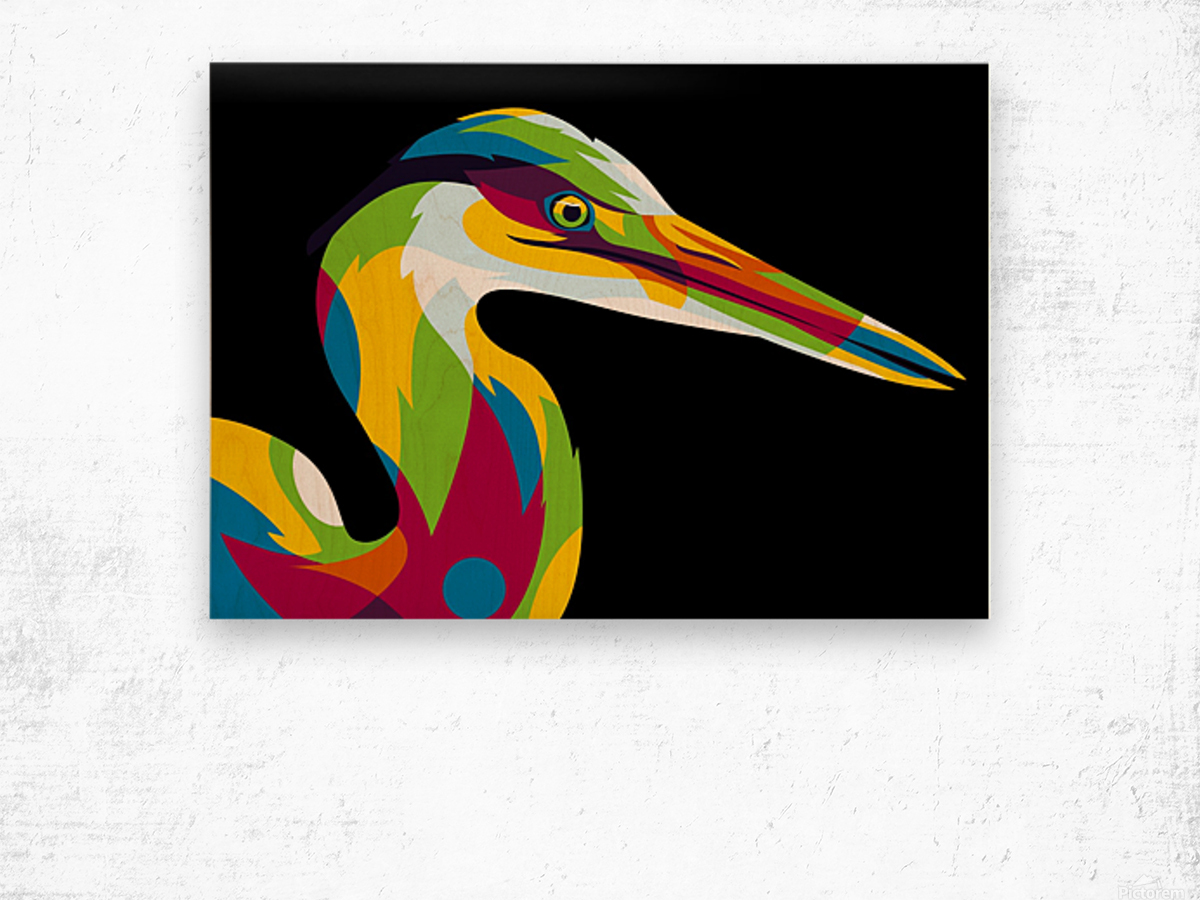 Great Heron in Pop Art Style Wood print