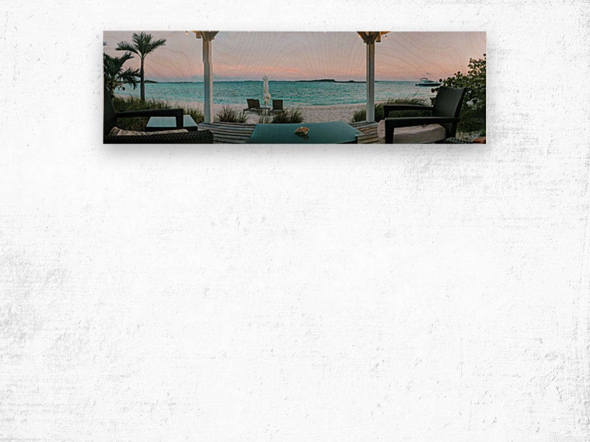 Sunset in Highbourne Cay Wood print