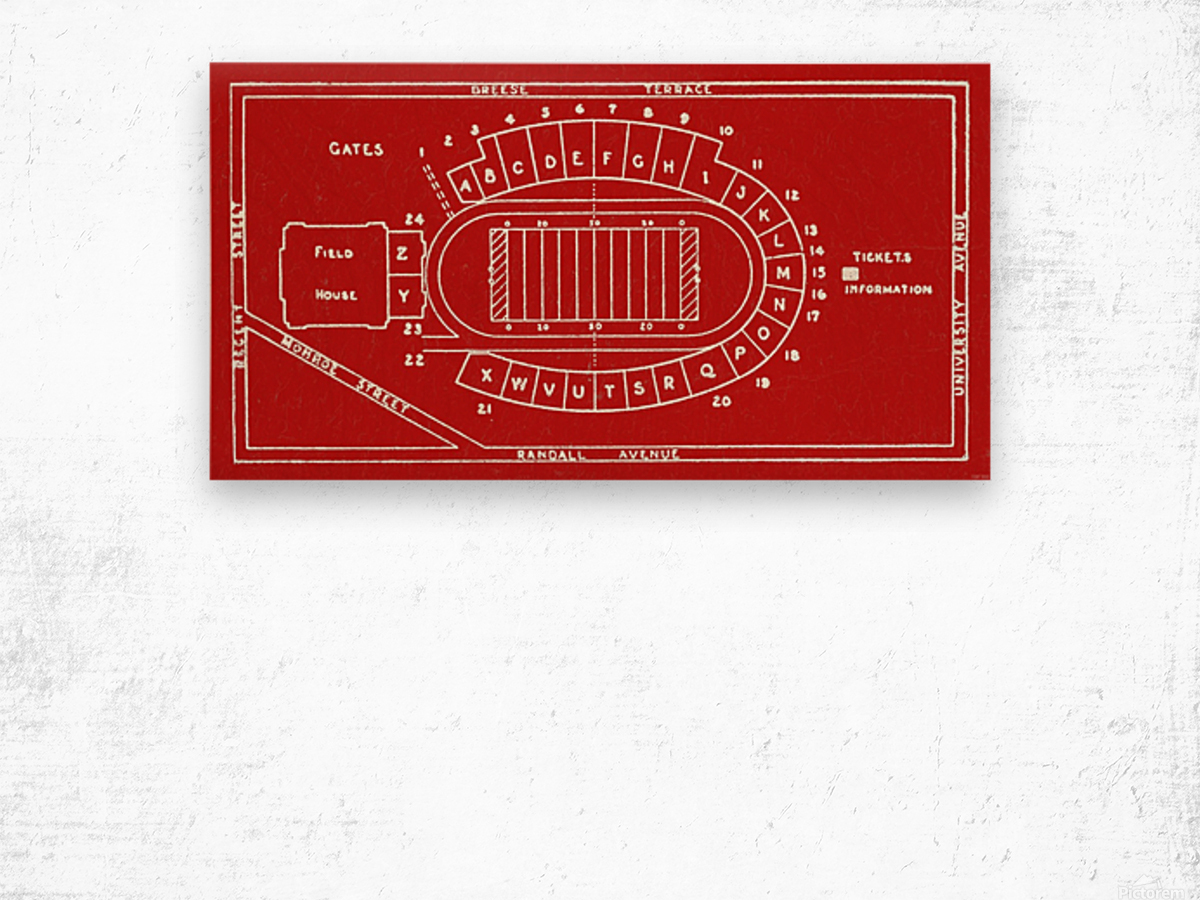 1937 Camp Randall Stadium Map Wood print