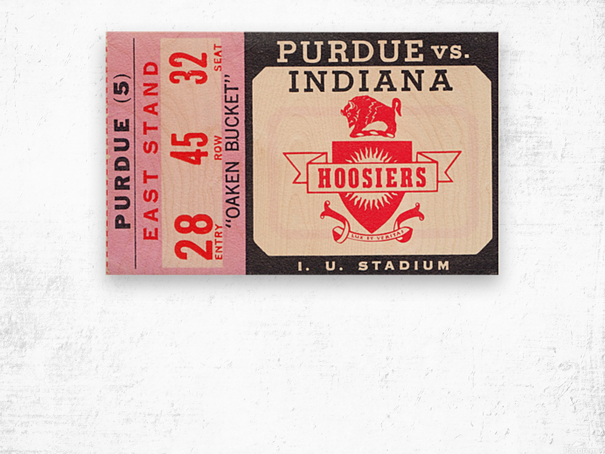 Vintage Indiana Hoosiers Football Ticket Stub Wood print