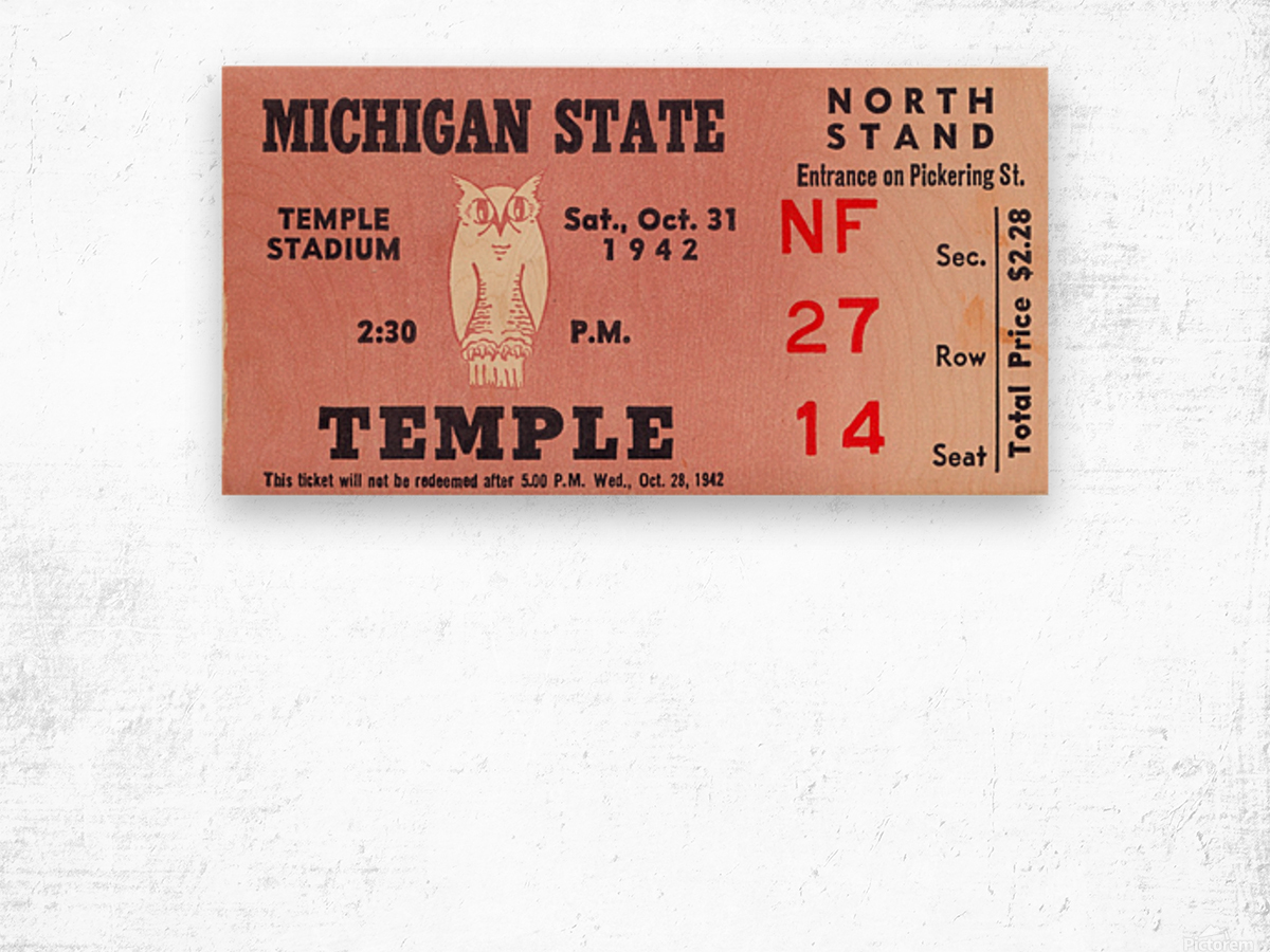 1942 Michigan State vs. Temple Wood print