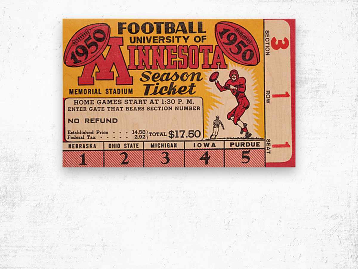 1950 University of Minnesota Season Ticket Wood print
