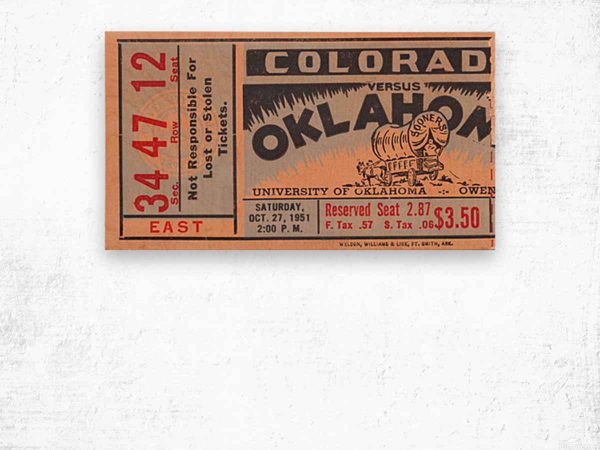 1951 Oklahoma vs. Colorado Wood print