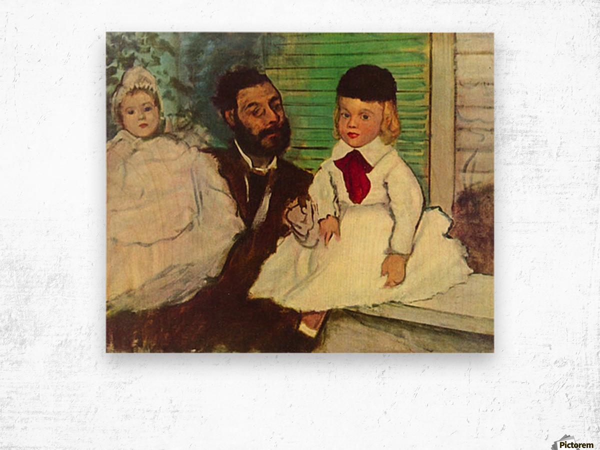 Portrait of Count Lepic and his daughters by Degas Wood print