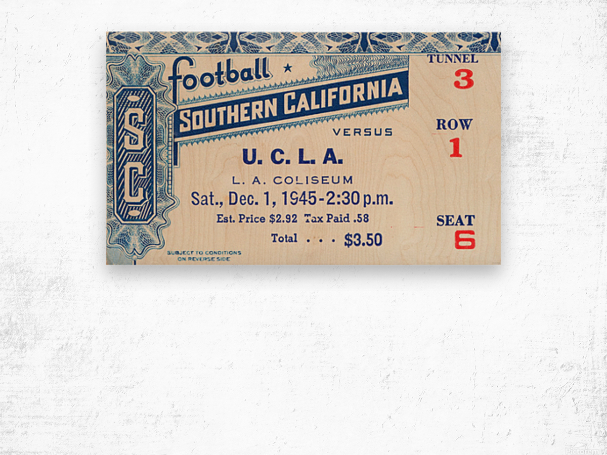 1945 USC vs. UCLA Game 2 Wood print