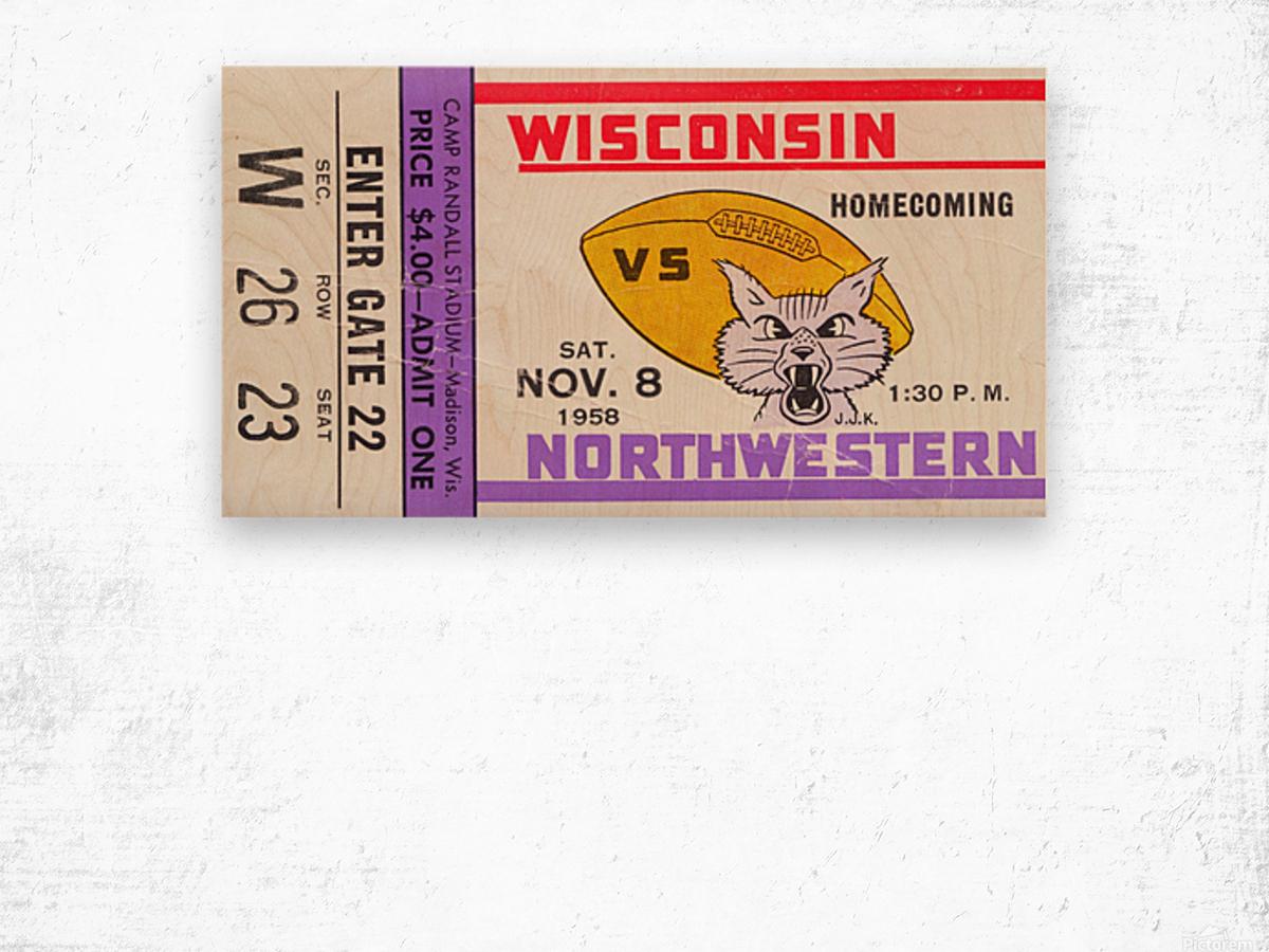 1958 Wisconsin vs. Northwestern Wood print