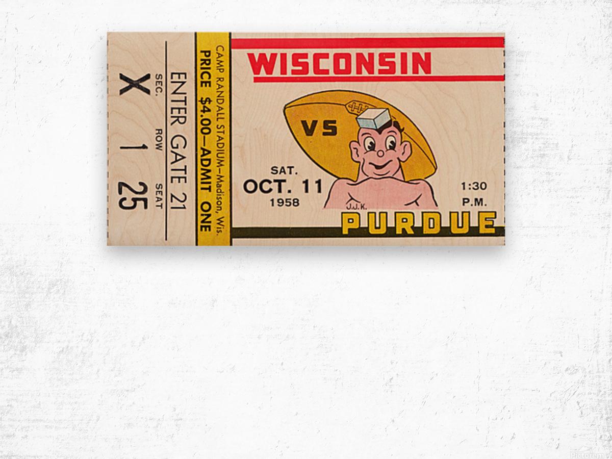 1958 Wisconsin vs. Purdue Wood print