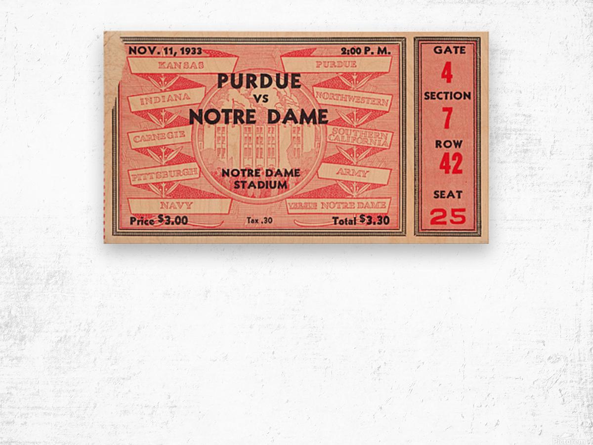 1933 Notre Dame vs. Purdue Wood print