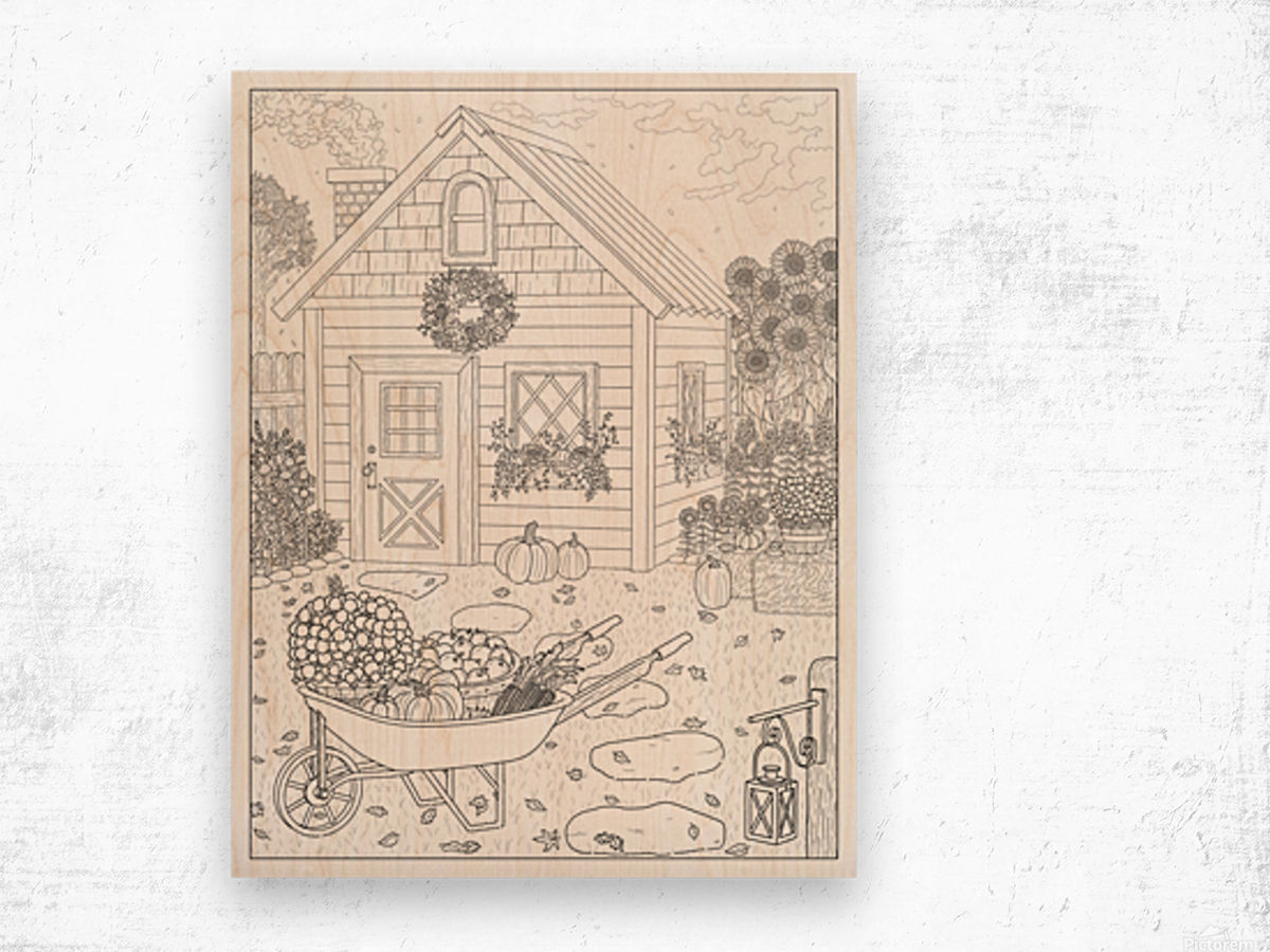 Autumn Cottage Coloring Page Wood print