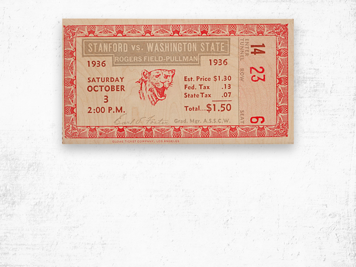 1936 Washington State vs. Stanford Wood print