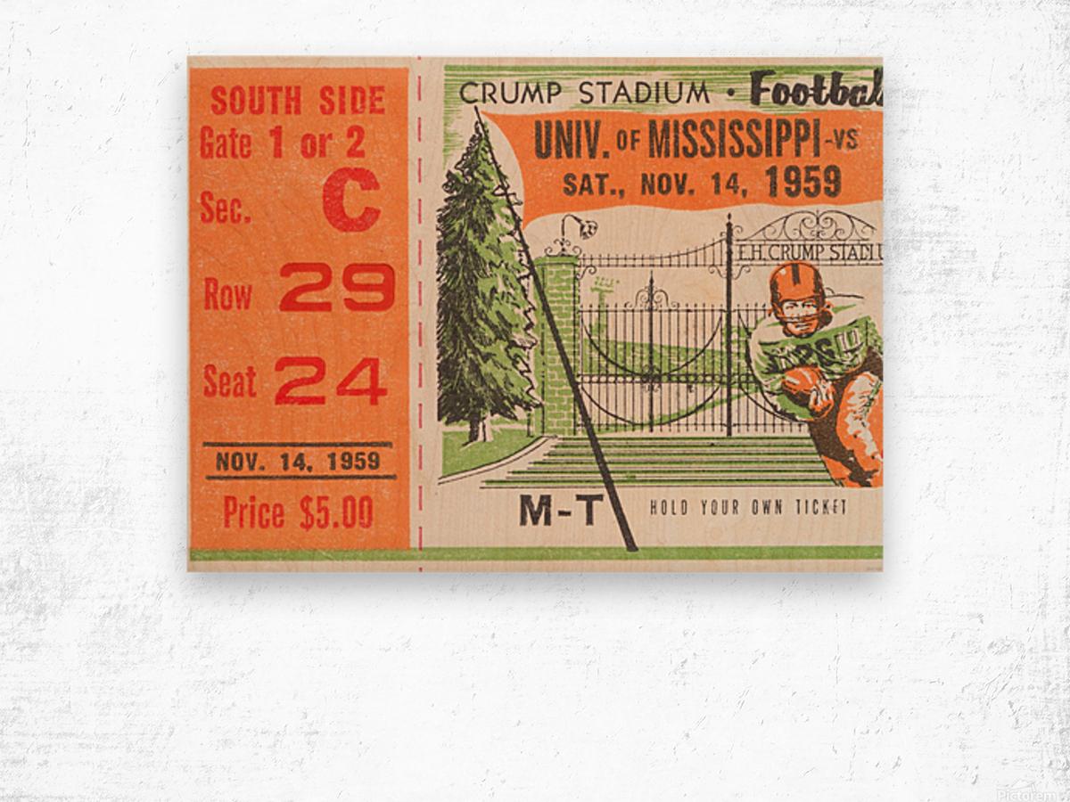 1959 Mississippi vs. Tennessee Wood print