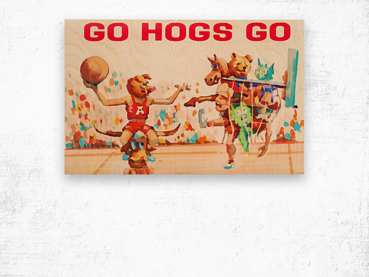 1984 Arkansas Cartoon Basketball Art Wood print