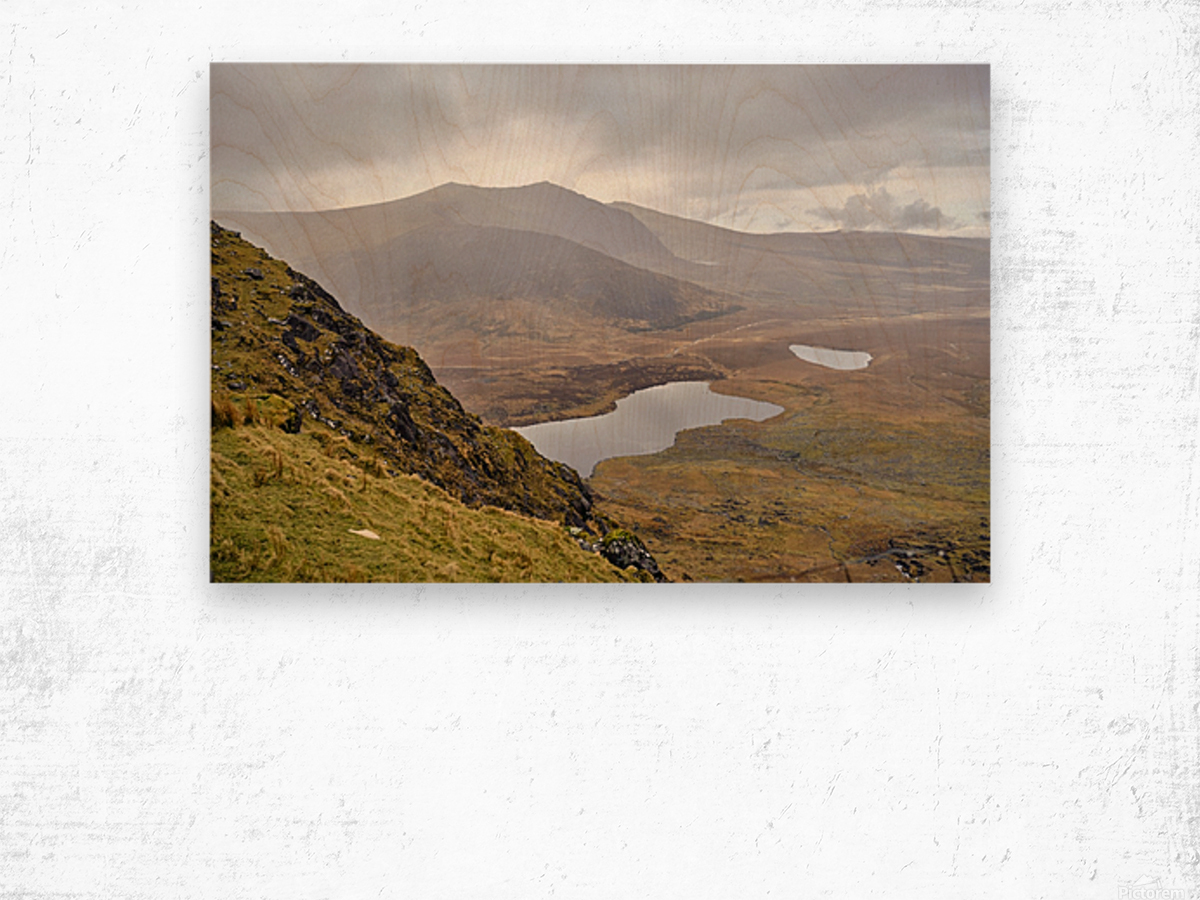Mountain top view through Conors Pass co. kerry Ireland Europe 2018 Wood print