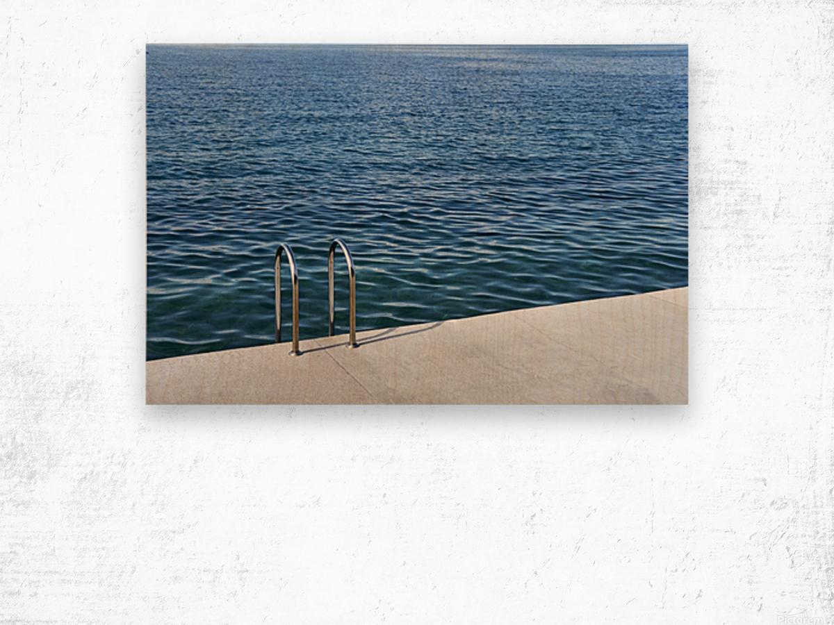 Pool ladder on the shore of the slovenian adriatic coast Piran Slovenia Wood print