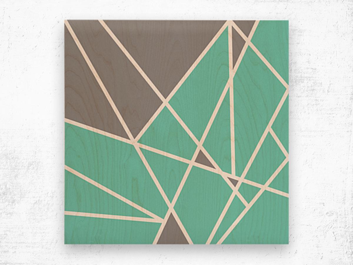Gray Teal Triangles Geometric Art GAT101 square Wood print