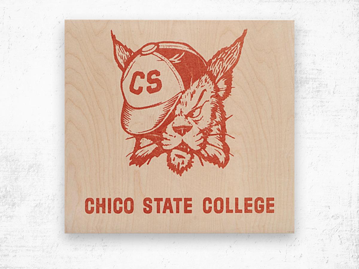 1950s Chico State College Wildcat Art Wood print
