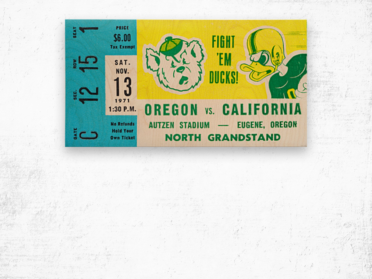 1971 California vs. Oregon Wood print