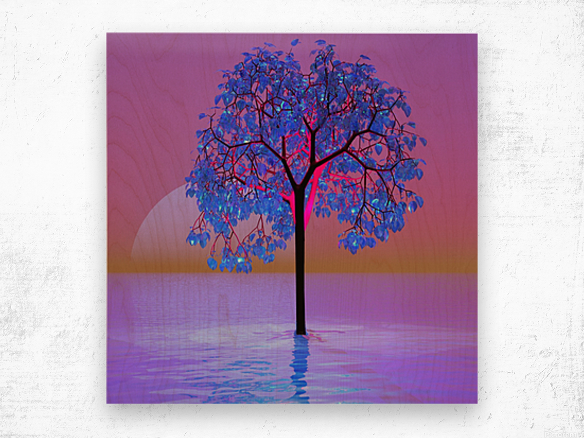 Tree Sunset Wood print