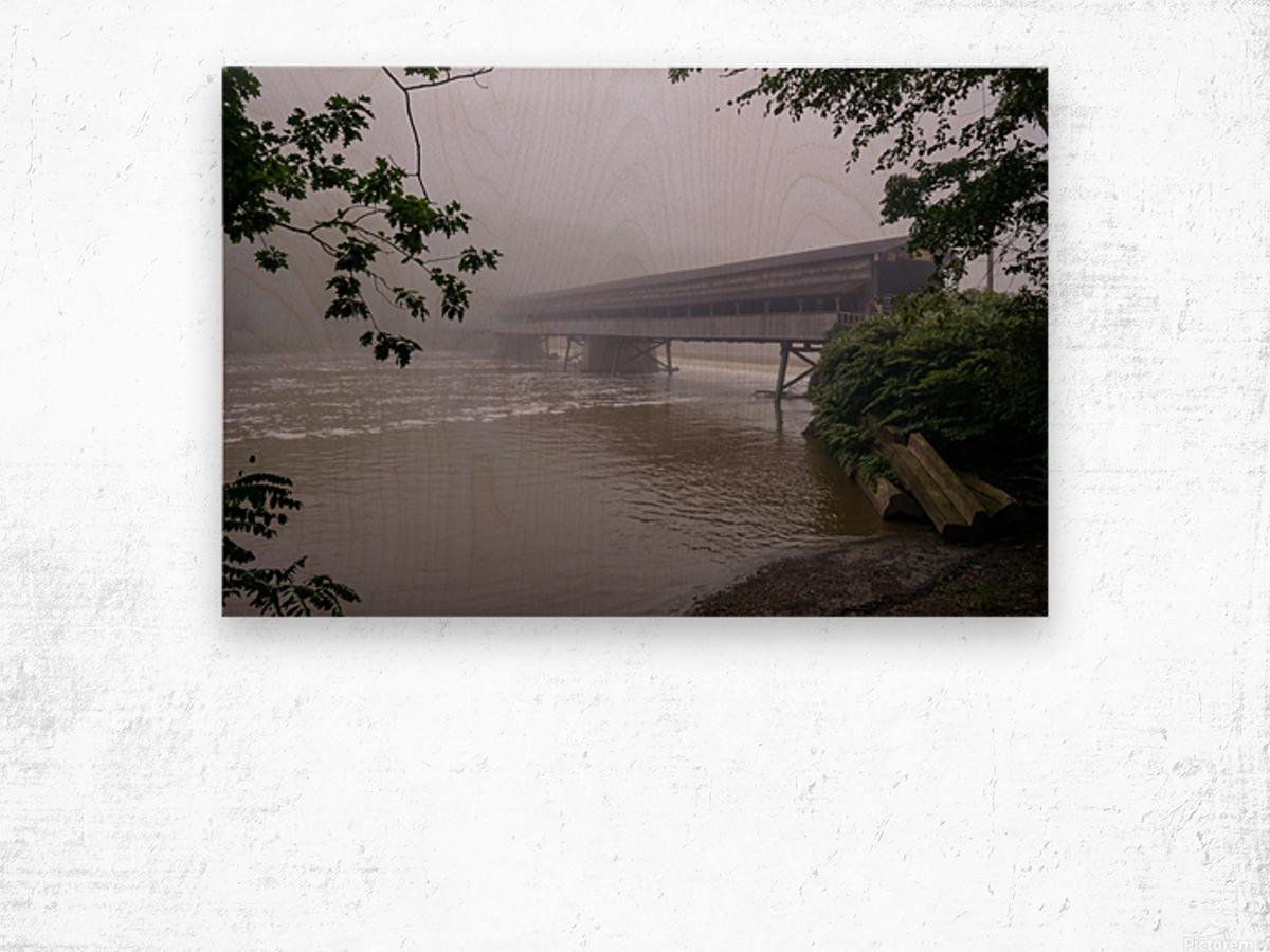Harpersfield Ohio covered bridge in fog Wood print