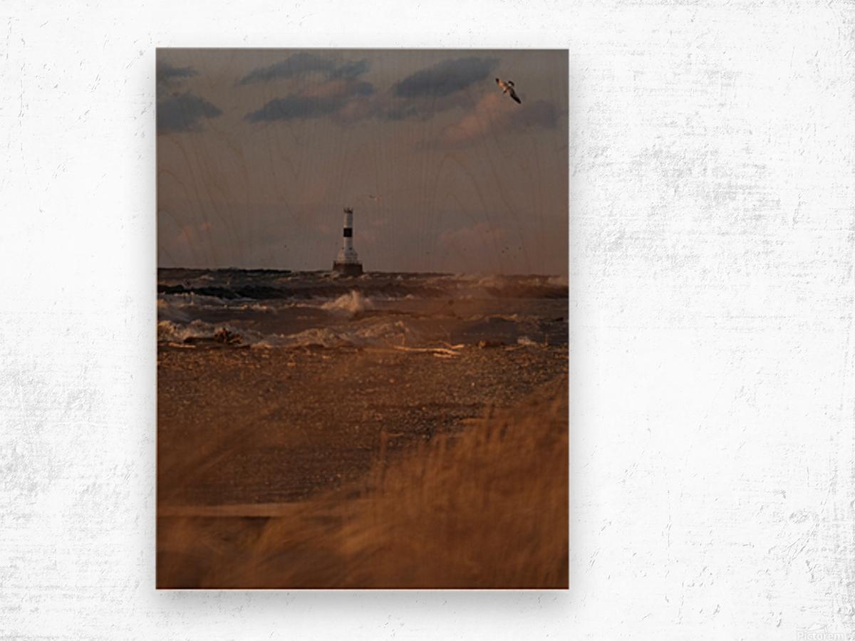 Conneaut Ohio lighthouse during storm Wood print