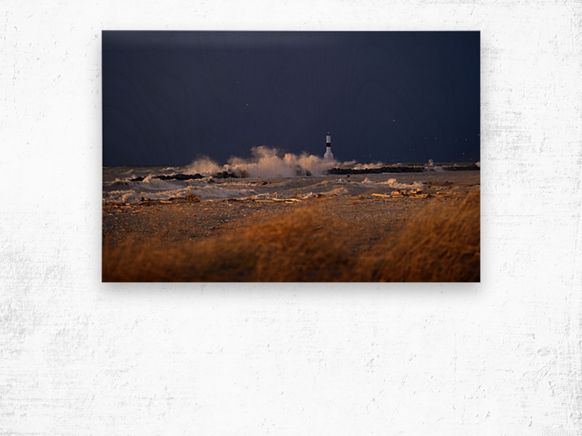 Conneaut lighthouse in storm Wood print