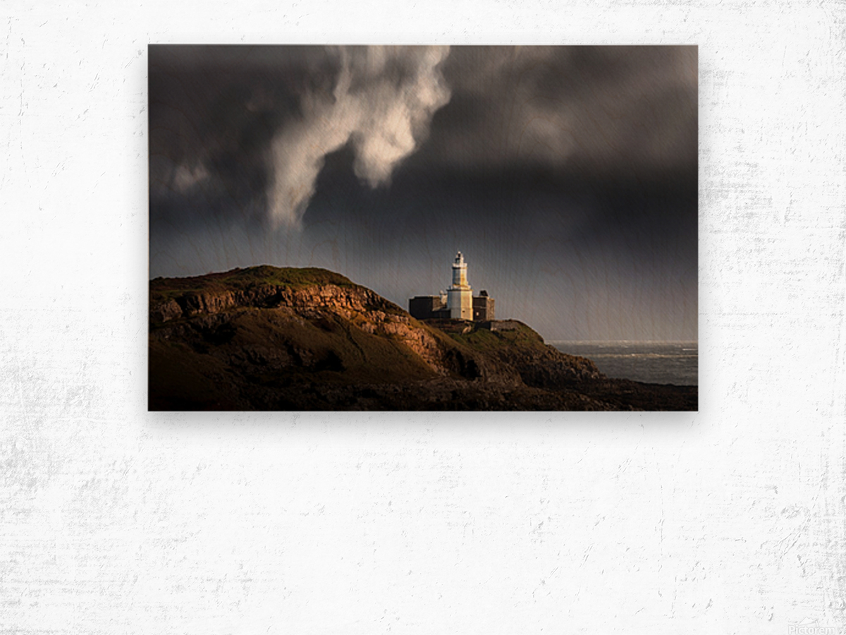 Mumbles lighthouse in the rain Wood print