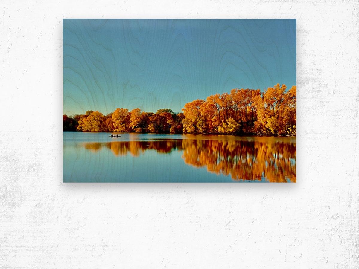 Autumn Canoe Wood print