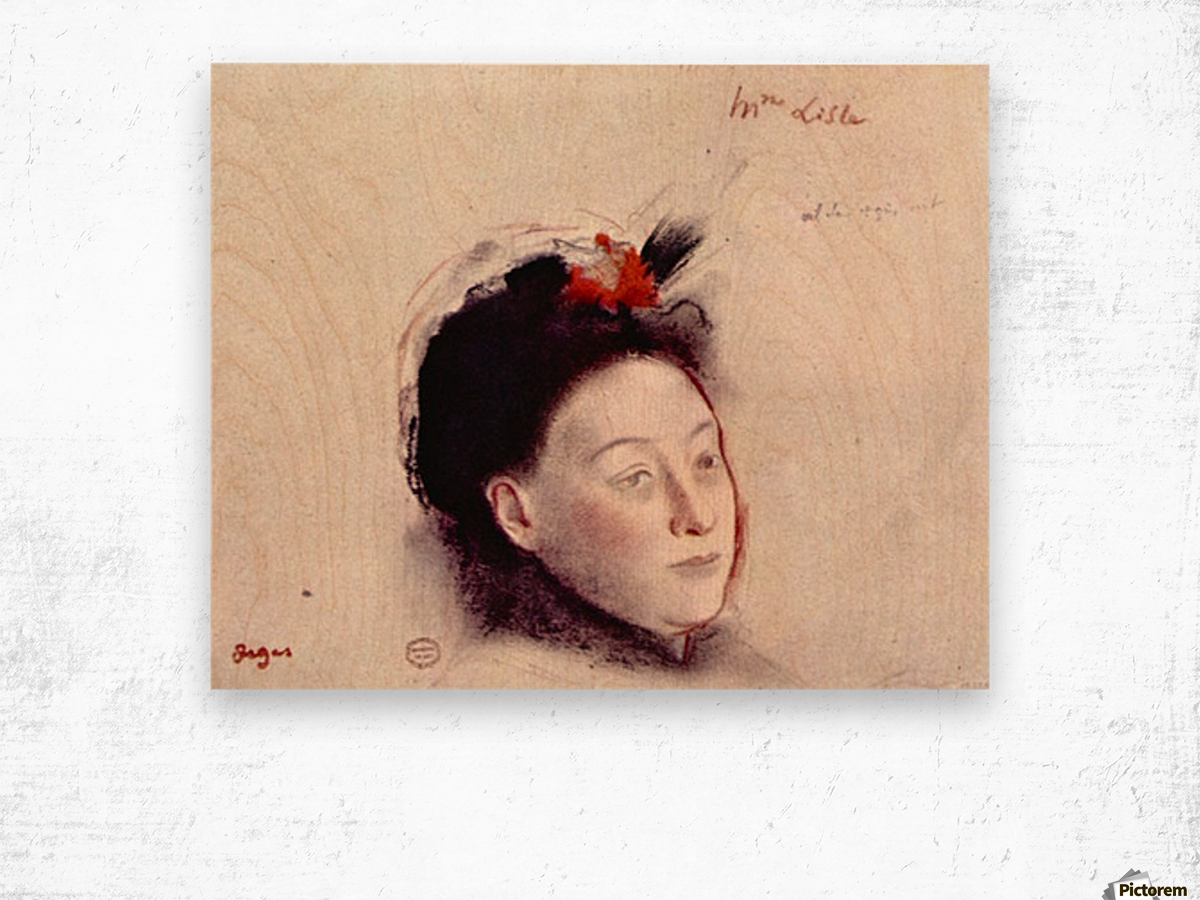 Portrait of Madame Lisle by Degas Wood print