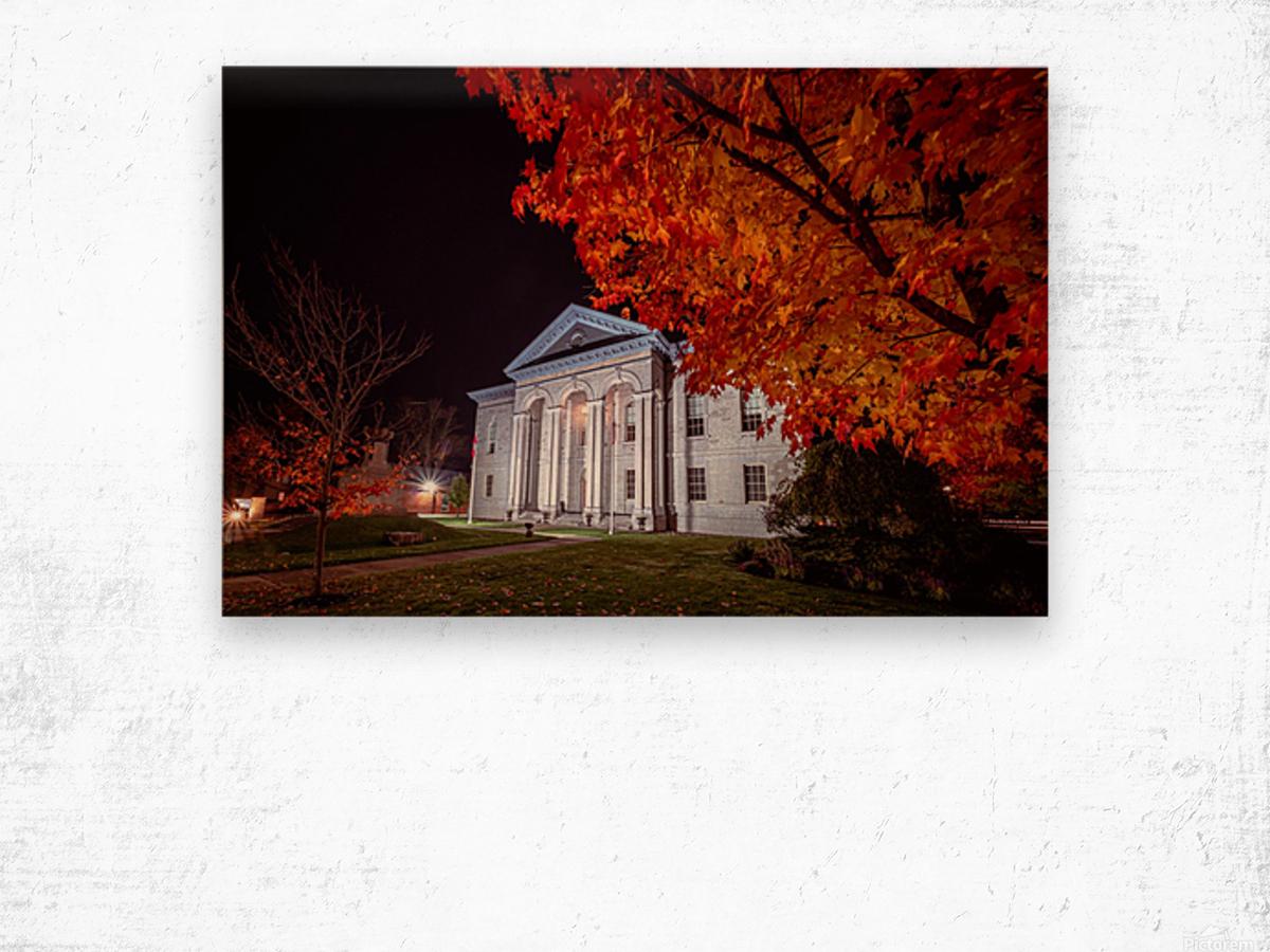 Courthouse Autumn Night Wood print