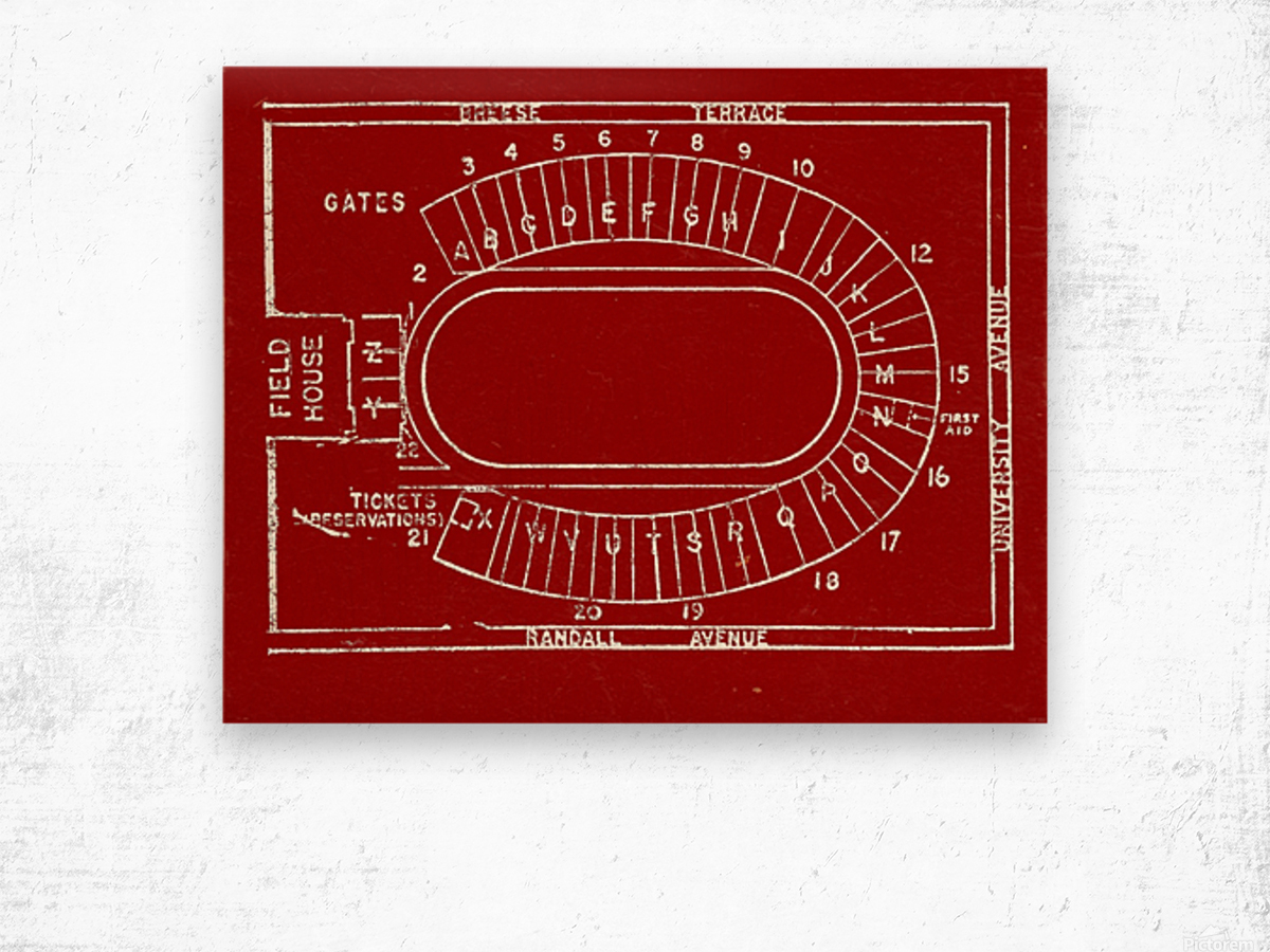 1957 camp randall map art Wood print