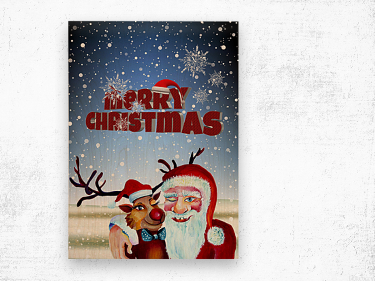 Santa Clause and Rudolph in Magical Winter night Wood print