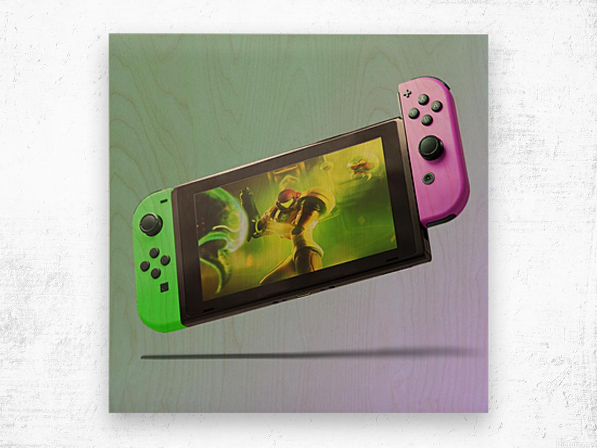 Nintendo Switch Green Pink Wood print
