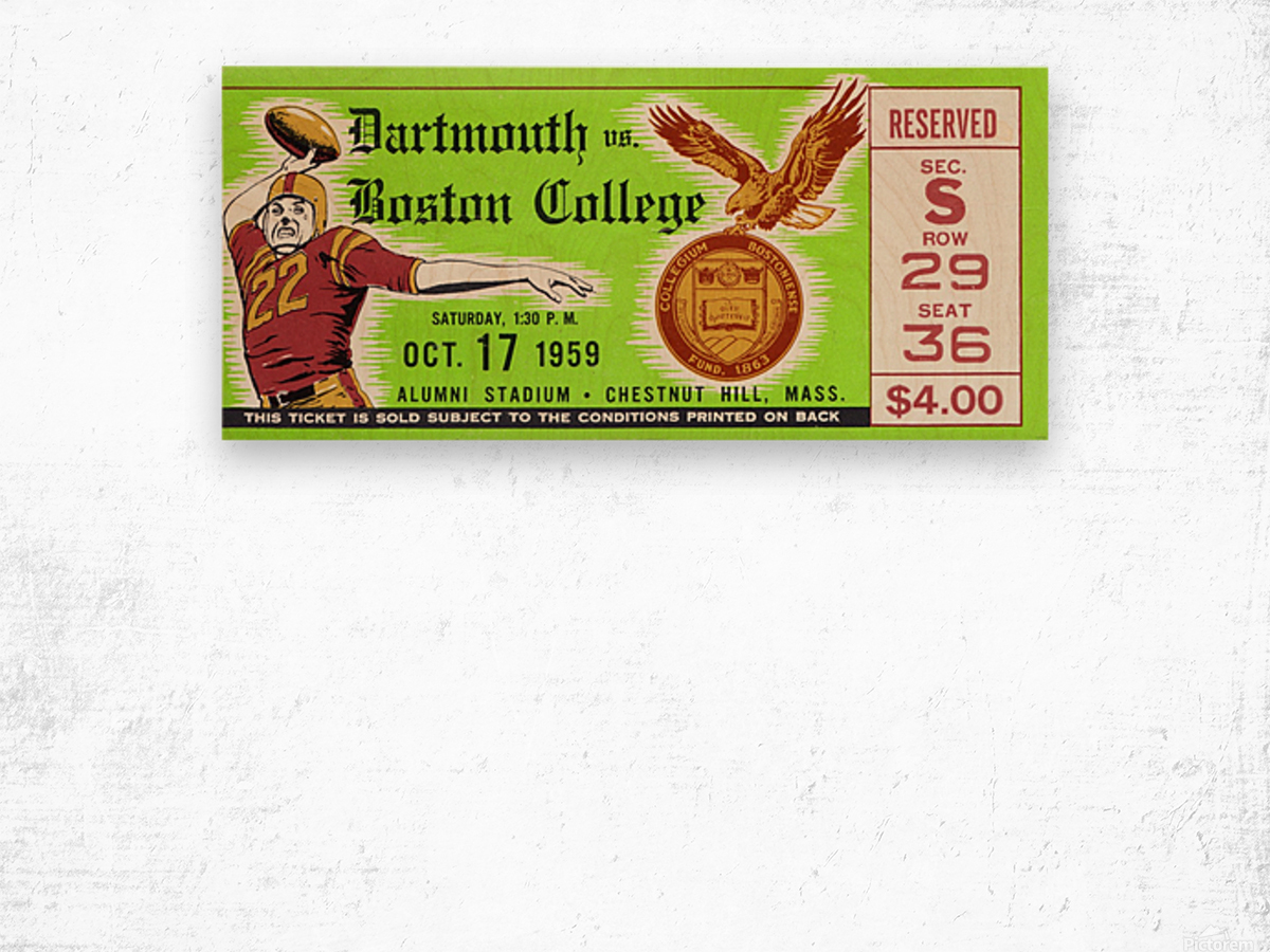1959 Boston College vs. Dartmouth Wood print