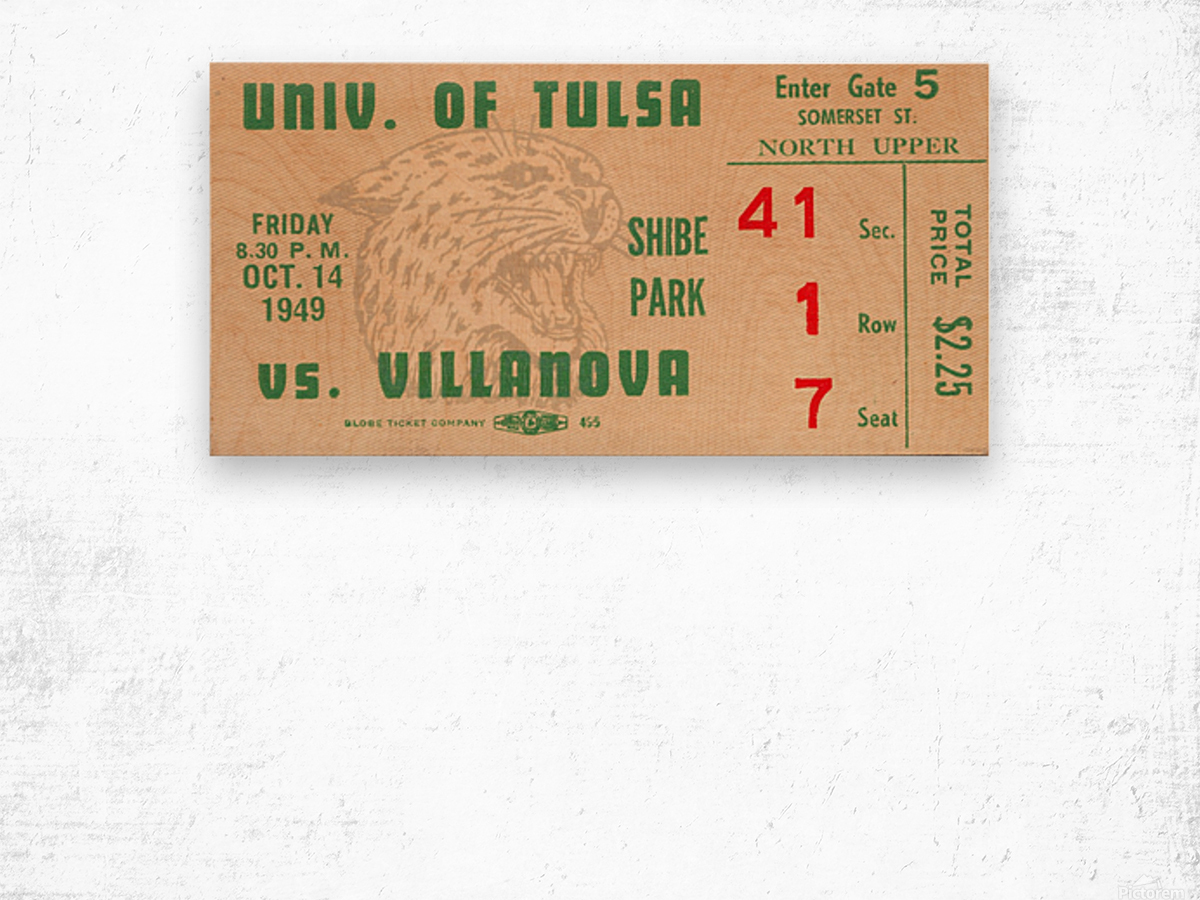 1949 Tulsa vs. Villanova Football Ticket Stub Wall Art Wood print