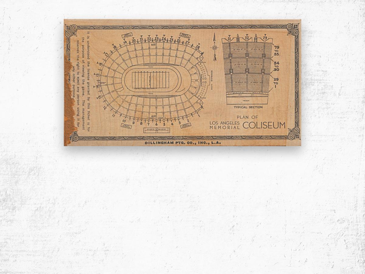 1933 LA Coliseum Map Art Wood print