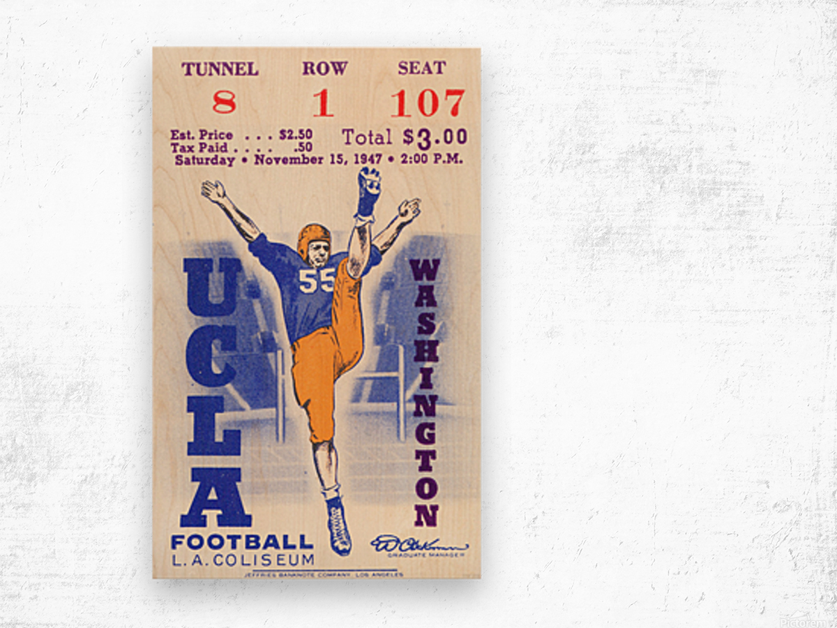 1947 UCLA vs. Washington Wood print