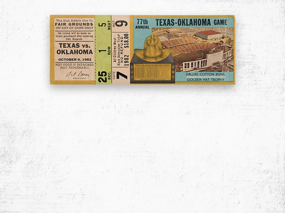 1982 Oklahoma vs. Texas Wood print