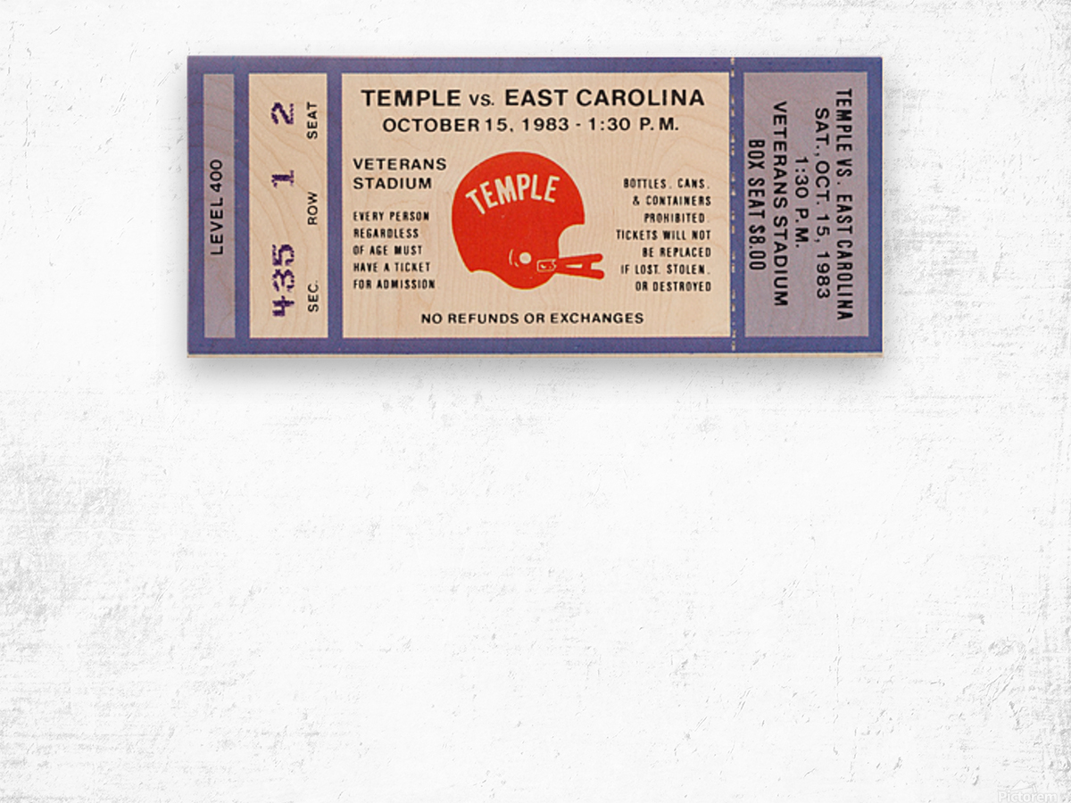 1983 Temple vs. East Carolina Wood print