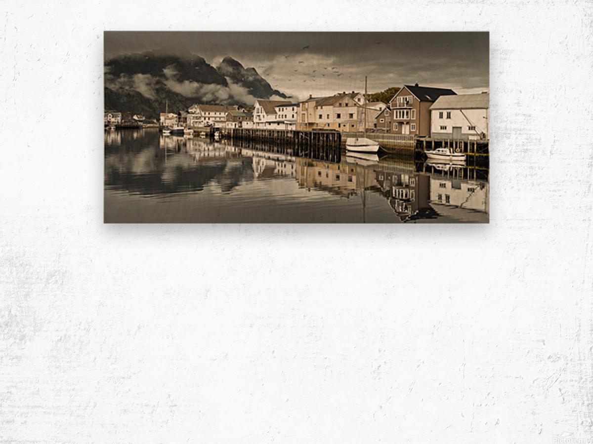 Fishing village, Lofoten, Norway Wood print