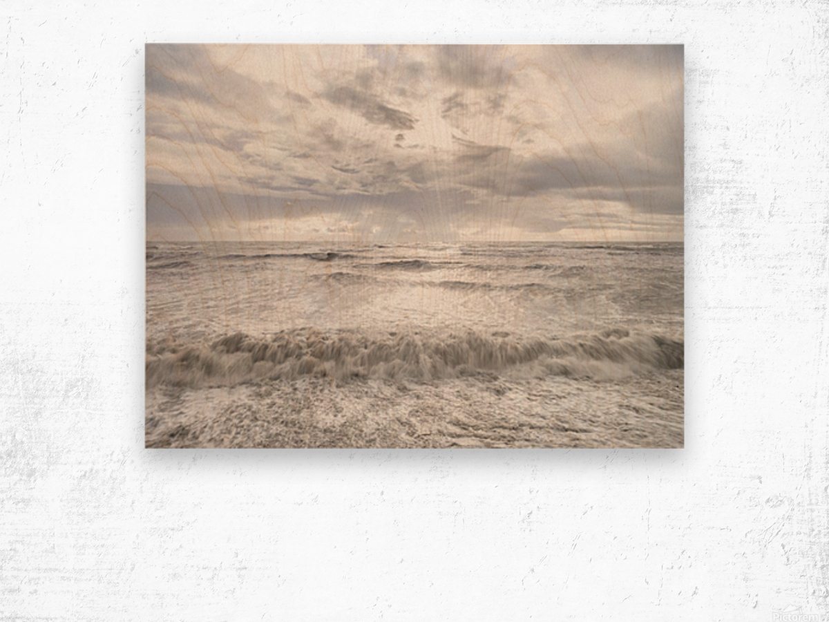 Rough and stormy sea at dusk, Charmouth, Dorset, UK Wood print
