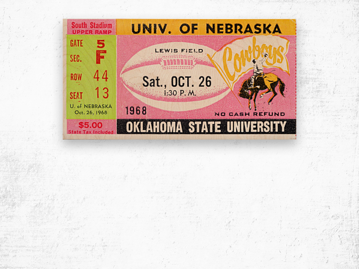 1968 Nebraska vs. Oklahoma State Wood print