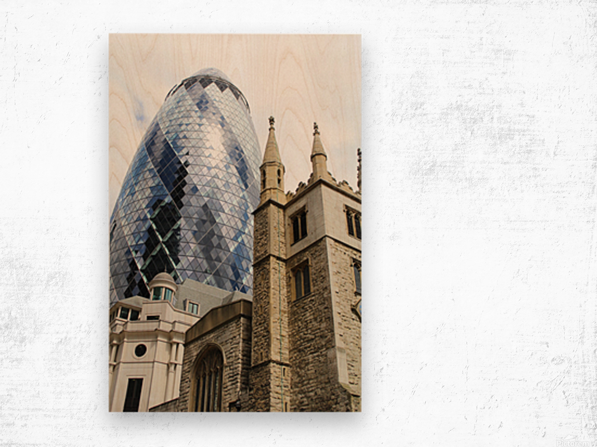 London old and new Wood print